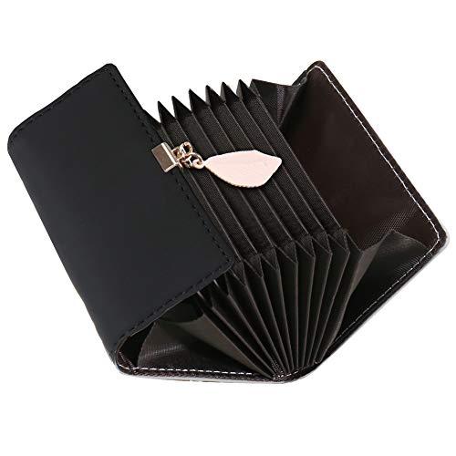 Kreditkartenetui Damen, SAMKING Frauen Leder RFID-Schutz Kartenhalter Geldbörse Klein Geldbeutel Reißverschluss Portemonnaie (Schwarz 2)