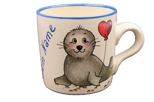Carstens Keramik® Namenstasse Seehund Herz, Tasse mit Namen Natur, Robbe Herzluftballon, Handmade