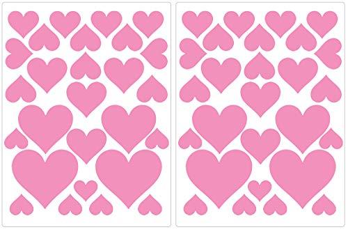 PREMYO 54 Hartjes Muurstickers Kinderkamer Meisje - Muurtattoo Stickers Babykamer Zelfklevend Roze