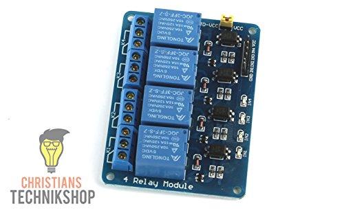 4-Kanal 5V Relais/Relay Modul mit Optokoppler | 10A - 250VAC | Christian's Technikshop