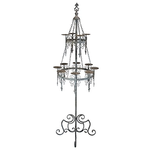 Design Toscano Malbark Castle Gothic Decor Floor Candelabra Candle Holder, 63 Inch, Grey Patina
