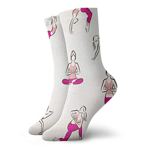 Calcetines suaves de longitud media de pantorrilla, para yoga y pilates, poses de símbolos, para el cuidado de la salud, fitness, ejercicio, gimnasia, calcetines para hombres y mujeres