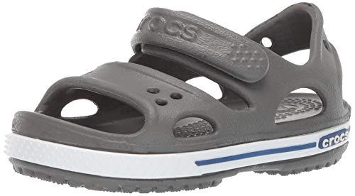 Crocs Kids' Crocband II Sandal | Slip On Water Shoes for Boys and Girls, Slate Grey/Blue Jean, 8 M US Toddler