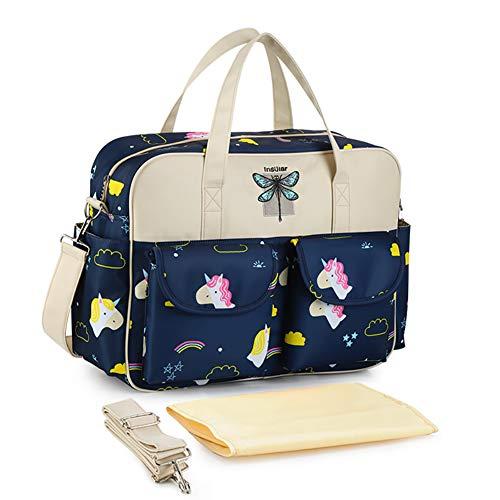 SNKLM Baby Wickeltasche, Multifunktions Großer Kapazität, Stilvolle Reise Handtasche, Mit Wickelunterlage Und Schultergurt,Rainbow Pegasus