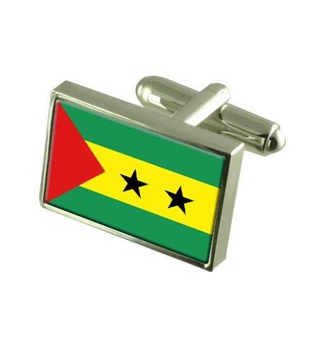 Select Gifts São Tomé und Príncipe Landesflagge Manschettenknöpfe. Graviert Andenken Manschettenknöpfe Fall
