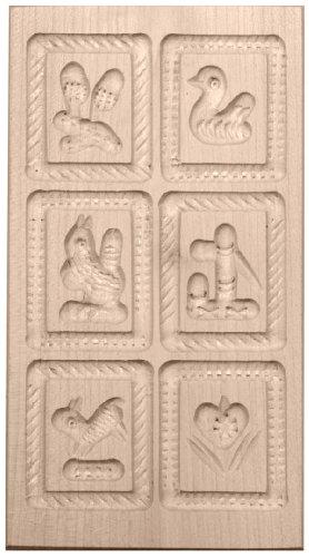 HOFMEISTER® Anisgebäckform, gehämmert, 6 Bilder, aus Ahorn-Holz