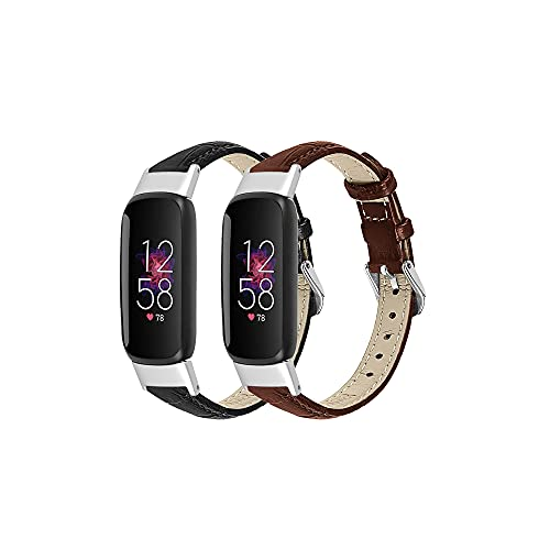 Chofit Leather Bands Compatible with Fitbit Luxe Bands for Women Men Genuine Leather Replacement Strap Watch Band, Adjustable Wrist Bands for Fitbit Luxe Fitness Tracker (Black&Brown)