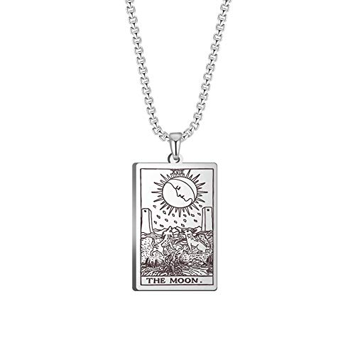 TEAMER Tarot Cards Necklace Stainless Steel Jewelry Celtic Astrology Divination Magic Amulet Necklace Major Arcana Pendant Necklaces (Silver, The Moon)