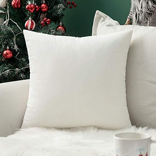 MIULEE Confezione da 1 Federa in Velluto Copricuscino Decorativo Fodera Quadrata per Cuscino per Divano Camera da Letto Casa40X40cm Bianco Puro