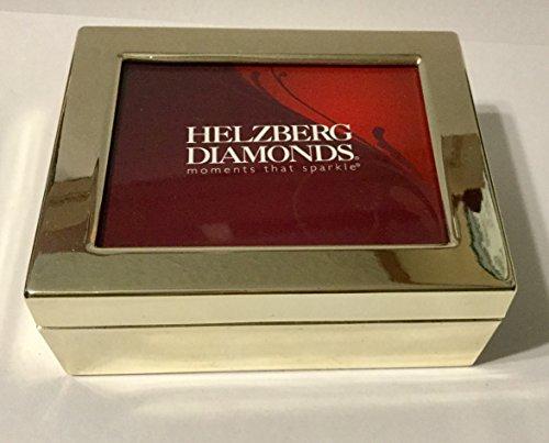 "Helzberg Diamonds Trinket Box Keepsake Photo Display Lid Metal 3-1/4"" X 4"""
