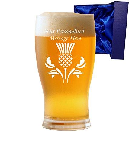 personalisierbar 1Pint Tulip Bier Glas mit Schottische Distel Design Seidenfarbene Box