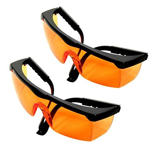 HQRP 2 Lentes naranjas Protección UV Gafas de seguridad para trabajos de jardinería, corte de césped, Desbroce de malezas, Recorte de setos, Agricultura, Silvicultura UV Medidor del sol