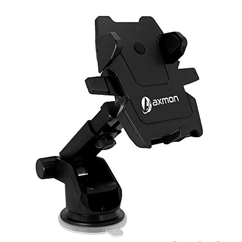 Axmon® Car Mount Mobile Holder Telescopic Arm One Tap Technology Dashboard & Windshield Cell Phone Holder [Long Neck Cradle] [360°Rotating] Universal Cell Phone Cradle for All Mobile Phones – Black