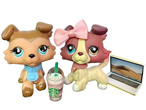 Lovely Toy lps Collie 2pcs Red and Tan #893#1262 Red and Tan lps Puppy with lps Accessories Lot Xmas Birthday Gift for Kids