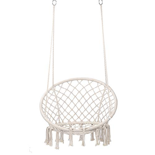 Hammock Chair Macrame Swing - Max 300 Lbs-Hanging Cotton Rope Hammock Swing Chair for Indoor and Outdoor Use (White)