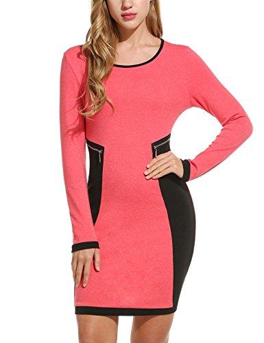 Zeagoo Kontrast Kleid Damen Patchwork Bodycon Stretch Lange Ärmel Figurbetontes Strickkleid mit Reißverschluss Details (Rot)