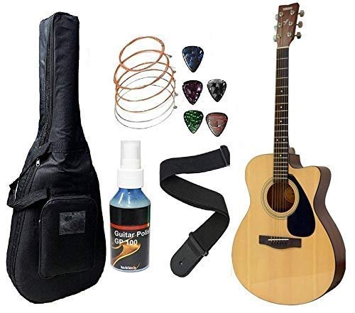 Yamaha FS100C, 6-Strings Acoustic Guitar With Sponge Bag, Belt & Plectrums Combo Pack (Natural) By Mexa