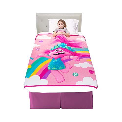 Franco Kinder-Bettwäsche, superweicher Plüsch-Überwurf, 116,8 x 152,4 cm, Trolls World Tour
