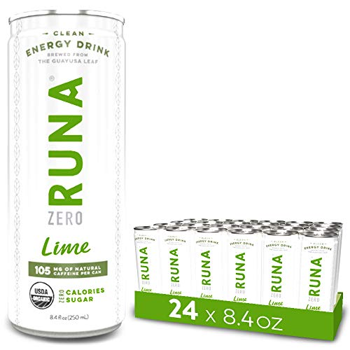 Organic Clean Energy Iced Tea Drink by RUNA ZERO, Lime | Natural High Caffeine Coffee Alternative | Healthy Energy Boost with No Jitters | Calorie Free & Sugar Free, 8.4 oz (Pack of 24)