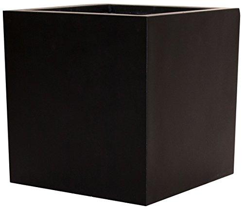 Pflanzkübel Blumenkübel Blumentopf Fiberglas Quadrat LxBxH 80x80x80cm elegant schwarz-matt.