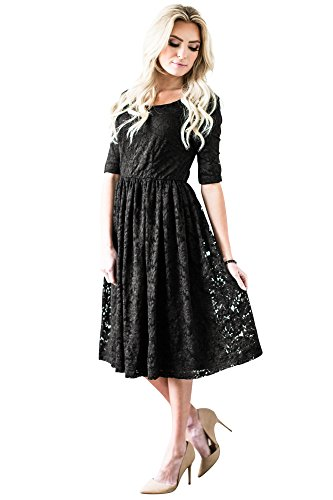 Addison Modest Dress In Black Lace