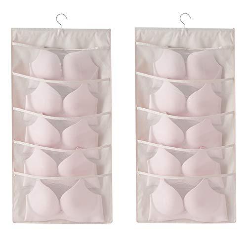 Closet Hanging Organizer with Mesh Pockets Rotating Metal HangerDual Sided Wall Shelf Wardrobe Storage BagsOxford Cloth Space Saver Bag for Bra Underwear Underpants Socks Beige Expand 10 Pocket