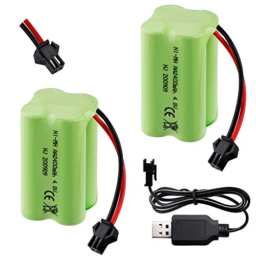 Hootracker 2PCS 4.8V 2400mAh Battery Pack SM-2P Plug Rechargeable with USB Charging...