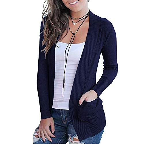 VOIANLIMO Women Open Front Casual Long Sleeve Knit Classic Navy Blue Sweaters Cardigan with Pockets XL Size