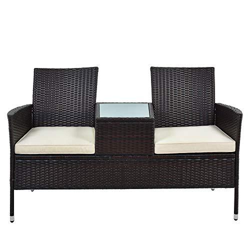 Belissy Banco de jardín de 2 plazas, resistente a la intemperie, de 2 plazas, juego de muebles de balcón, banco de jardín de polirratán con mesa de 2 plazas incluye cojines de 5 cm, color marrón