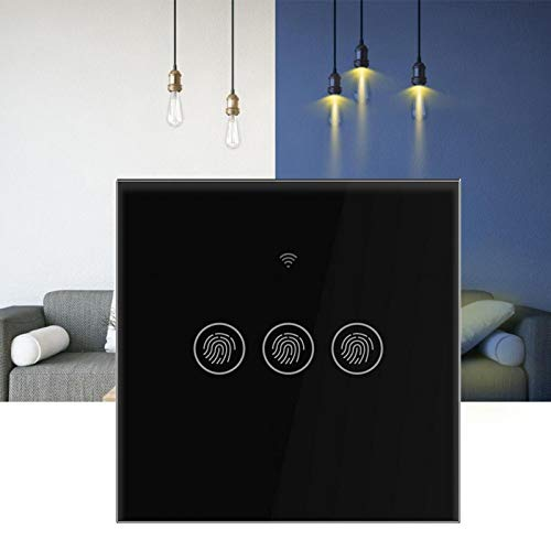 Cosiki Interruptor de WiFi, Interruptor Elegante del Tacto de la Pared del diseño, ABS Shell de(Black Cover 3 Way)