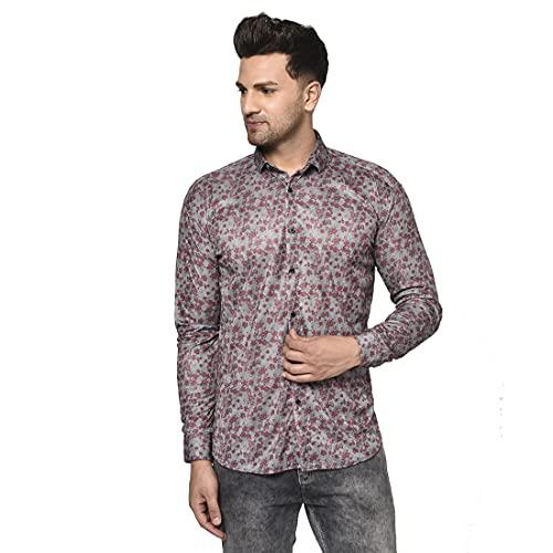 Villain Digital Printed Stretchable Casual Shirts for Mens (Long Sleeves) Grey