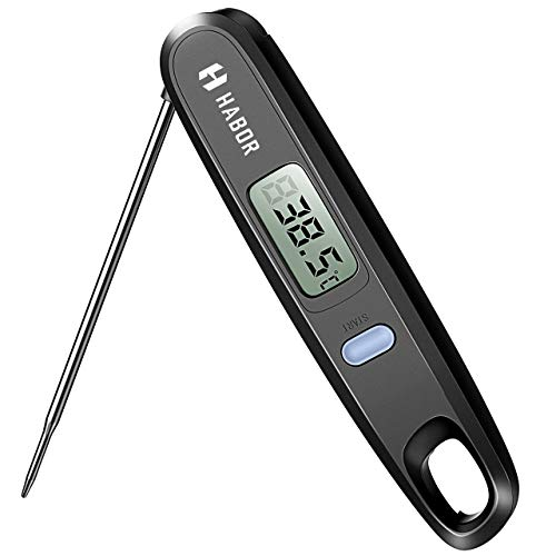 Cooking Thermometer, Habor UPGRADED Meat Thermometer Kitchen Thermometer Instant Read Thermometer with Foldable Probe for Food Baking Liquid Meat BBQ Grill Smokers
