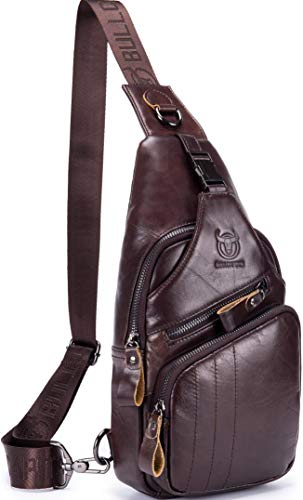 Joewilling Genuine Leather Chest Bag Men's Sling Outdoor Backpack Cross Body Travel Hiking Daypack Anti Theft Bag J0076 (Coffee)