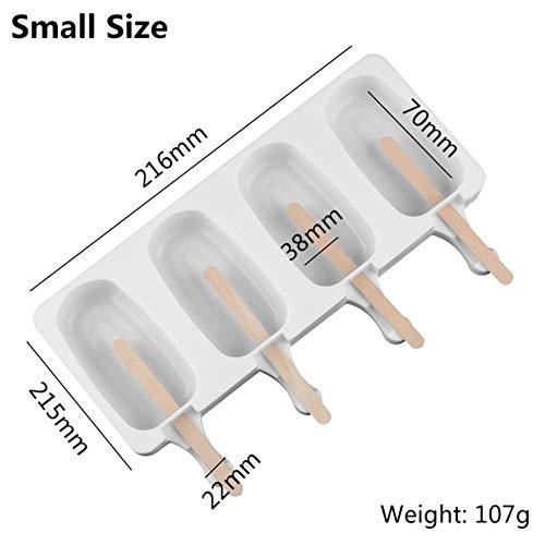 2 maten zelfgemaakte ijsvormen 4 holtes siliconen doe-het-zelf popsicle schimmel maken gereedschap sap dessert Maker met 10 Popsicle Sticks 215x125x22 Mm