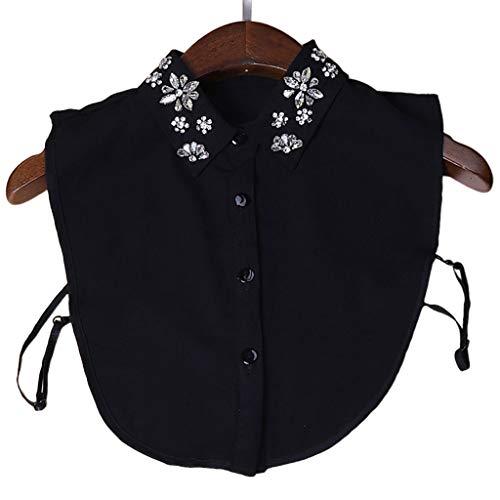 Tandou Elegant Damen Blusen kragen Chiffon mit Strass, Abnehmbare Krageneinsatz für Pullover Accessoires (Schwarz)