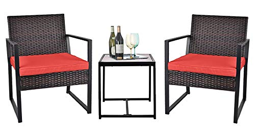 Grepatio 3 Piece Patio Conversation Set, Outdoor Wicker Furniture with 2 Chairs and Glass Coffee Table for Porch, Yard (Brown and Red)