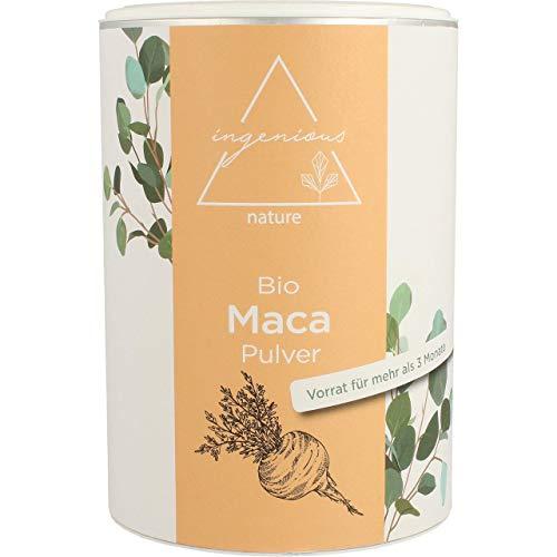 ingenious nature® Laborgeprüftes Bio Maca Pulver 500g - von der schwarzen Maca Wurzel - 100 % rein, ohne Zusätze, roh, aus Peru. Angebaut auf über 4400m. Vorrat für 100 Tage. (500g)