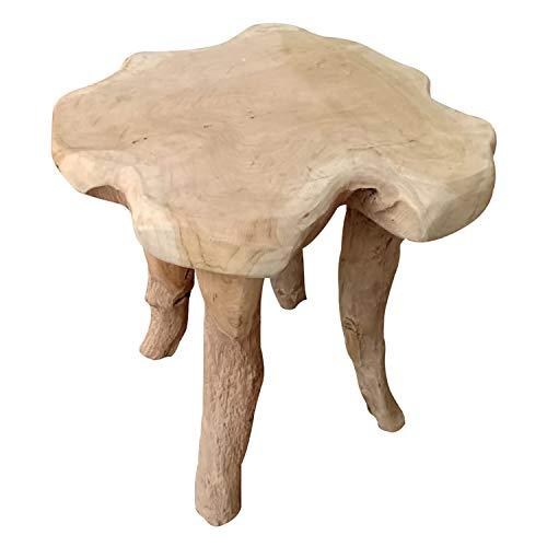 Massiv Holz Wurzelholz Teak Beistelltisch Couchtisch Sofatisch Hocker Blumenhocker Ø45xH45cm
