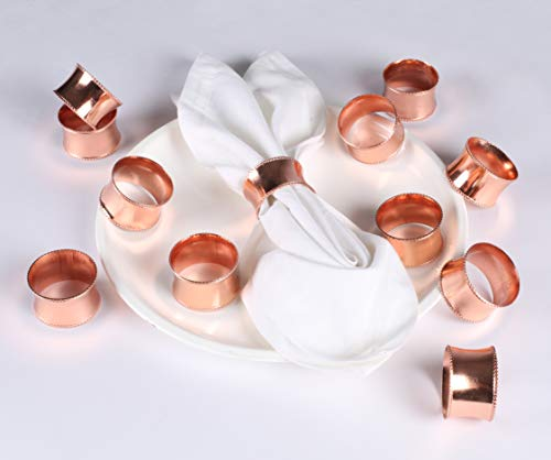 Metal Napkin Rings Beaded Edges - Set of 12 For Dinner Parties, Weddings Receptions, Family Gatherings, or Everyday Use - Set Your Style with Daily Use Table Décor Accessories (Rose Gold)