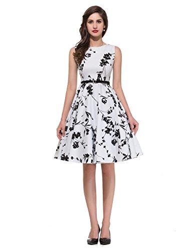Vintage Kleid Cocktailkleider Knielang Blumen Kleid,Clolor 11,M