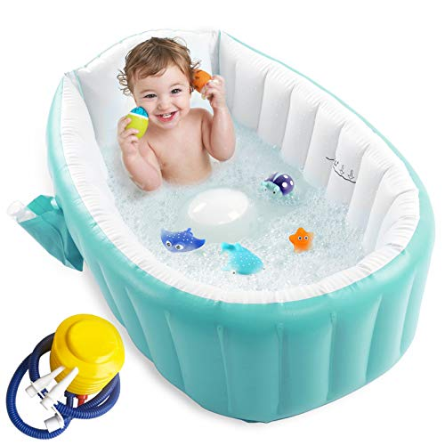 Inflatable Baby Bathtub with Air Pump, Baby Bath Tub Toddler Bathtub, Foldable Shower Basin for Newborn, Portable Travel Bath Tub, Green