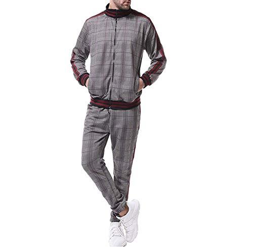 ZHMIAO Chándales para Hombre Jogging Bottings Gym Sweat Suits Zip Sport Chaqueta con cordón Pantalón con Bolsillo Grey-M(165~175cm)