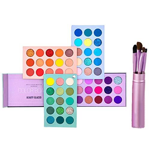 Beauty Glazed Makeup Sets, 60 Farben Lidschatten Palette Hochpigmentierter Schimmer Matt Glitter Makeup Palette mit 5 Stück Professional Makeup Pinsel Set