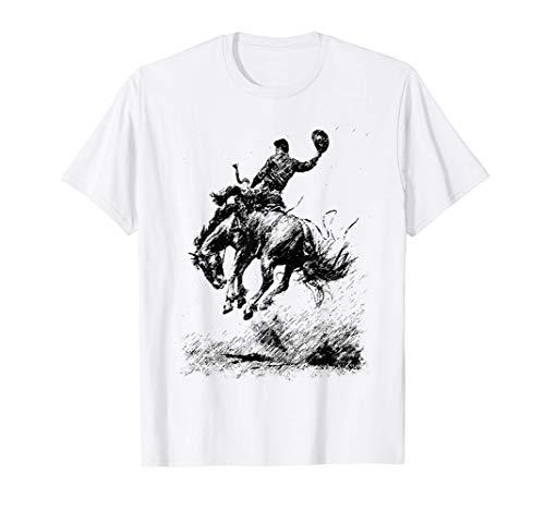 Estar En La Silla De Montar Vaquero A Caballo Vendimia Rodeo Camiseta