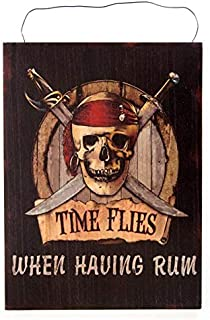 Globe Imports Time Flies.When Having Rum - Pirate Skull & Crossbones Wall Sign