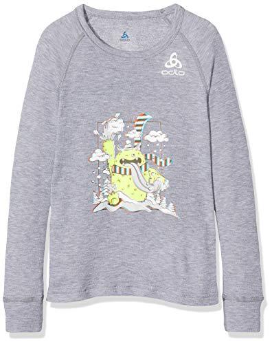 Odlo Kinder BL TOP Crew Neck l/s Active WARM Trend Kids Unterhemd, Grey Melange-Placed Print FW19, 140