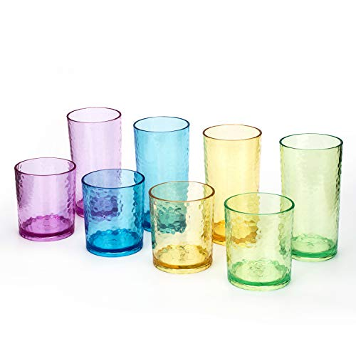 14-ounce and 20-ounce Acrylic Glasses Plastic Tumbler, set of 8 Multicolor - Hammered Style, Dishwasher Safe, BPA Free
