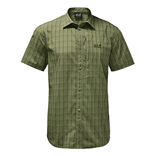 Jack Wolfskin Rays - Camicia da Uomo Elasticizzata, Uomo, Camicia, 1401552, Quadrati Muschio Leggero, M