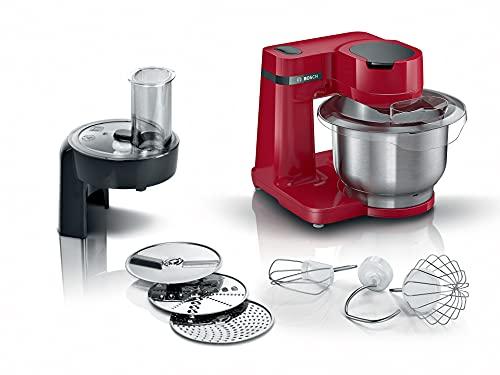 Bosch MUMS2ER01 Küchenmaschine MUM Serie 2, 700 W, 3,8 L Edelstahlschüssel, Durchlaufschnitzler und 3 Scheiben, Patisserieset Edelstahl, rot