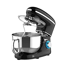 Heska -1500W Food Stand Mixer – 4-in-1 Beater/Whisk/Dough Hook/Flex Edge Beater – 5.5 Litre Mixing Bowl with Splash Guard (Black)